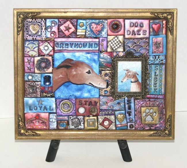 Art: Greyhound Mosaic by Artist Melinda Dalke