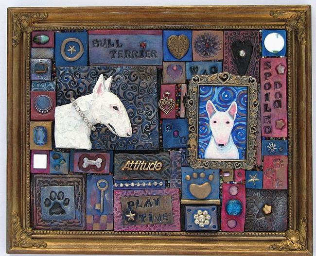 Art: Bull Terrier Mosaic 1 by Artist Melinda Dalke