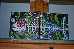 Art: El Pescado Dyptich by Artist Aimee Marie Wheaton