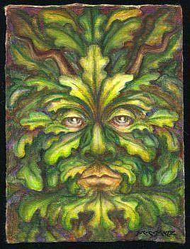 Art: ATC - Green Man #1 by Artist Madeline  Carol Matz