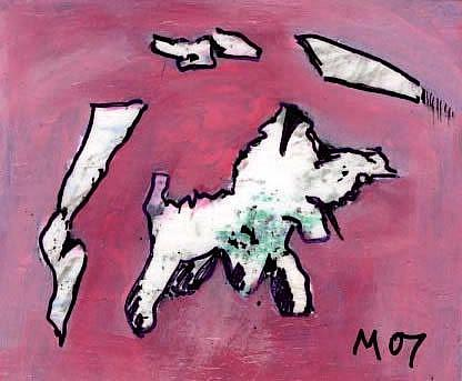 Art: A DOG WITH AN OVERSIZED HEAD CHASES FIVE STICKS by Artist Gabriele Maurus