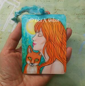 Detail Image for art Full Moon Redheads Woman and Fox