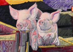 Art: Two hogs by Artist Muriel Areno