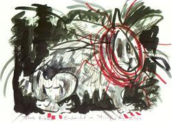 Art: Jack Rabbit Enshrouded In String by Artist Elisa Vegliante