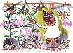 Art: Strung Out Gardner Picking Weeds by Artist Elisa Vegliante
