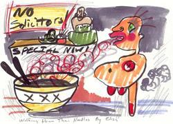 Art: Wolfing Down Thai Noodles by Artist Elisa Vegliante