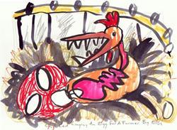 Art: Chicken Laying An Egg For A Farmer by Artist Elisa Vegliante