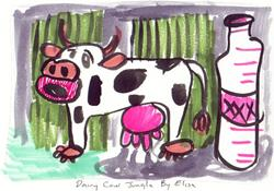 Art: Dairy Cow Jungle by Artist Elisa Vegliante