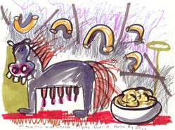Art: Macaroni And Cheese Flying Over A Horse by Artist Elisa Vegliante