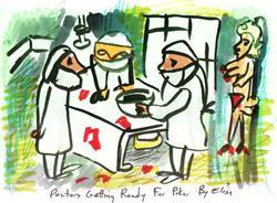 Art: Doctors Getting Ready For Poker by Artist Elisa Vegliante