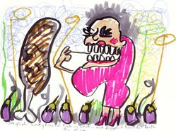 Art: Stylish Lady Friend Picking Chicken And Eggplant Out Of Her Teeth by Artist Elisa Vegliante