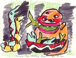 Art: Hungry Man Eating Fish by Artist Elisa Vegliante