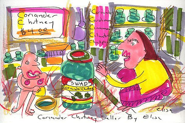 Art: Coriander Chutney Seller by Artist Elisa Vegliante