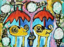 Art: Pugs In An ice Cream Storm by Artist Elisa Vegliante