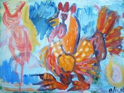 Art: Chicken Walking To Slaughter by Artist Elisa Vegliante