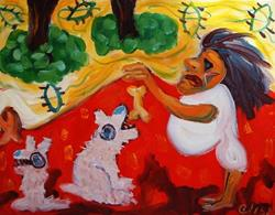 Art: Pet Sitter Chasing Dogs And Cats by Artist Elisa Vegliante