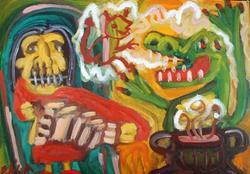 Art: Accordian Player And Voodoo Stew by Artist Elisa Vegliante