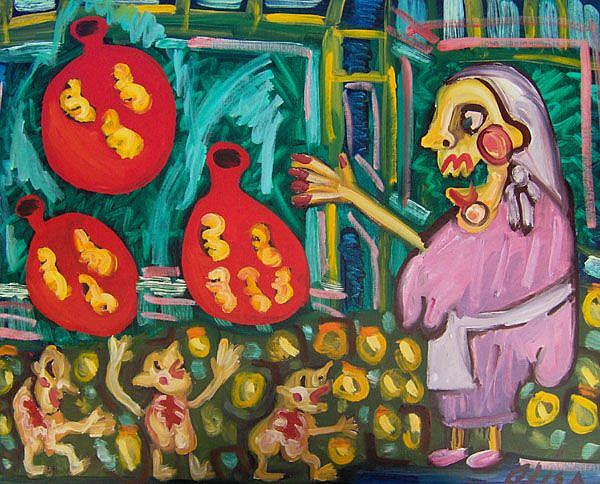 Art: Italian Lady Throwing Balloons Filled With Gnocchi At Children by Artist Elisa Vegliante