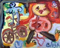 Art: Bicycle Get-Away by Artist Elisa Vegliante
