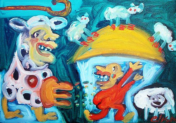 Art: Offbeat Cow Chasing A Shepherd by Artist Elisa Vegliante