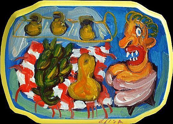 Art: Artichoke And Squash Picnic by Artist Elisa Vegliante