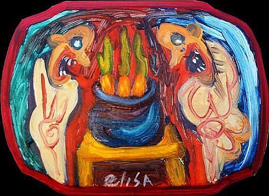 Art: Fretting Over Dinner by Artist Elisa Vegliante