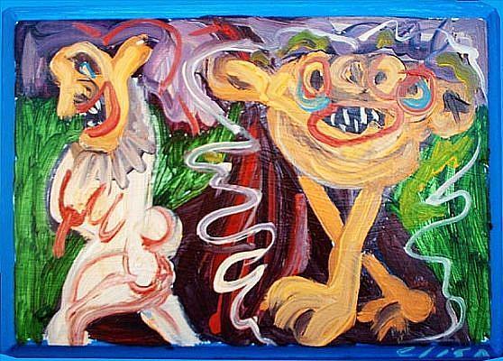 Art: Running From A Monster by Artist Elisa Vegliante
