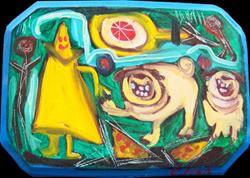Art: Pugs In Pizza Land by Artist Elisa Vegliante