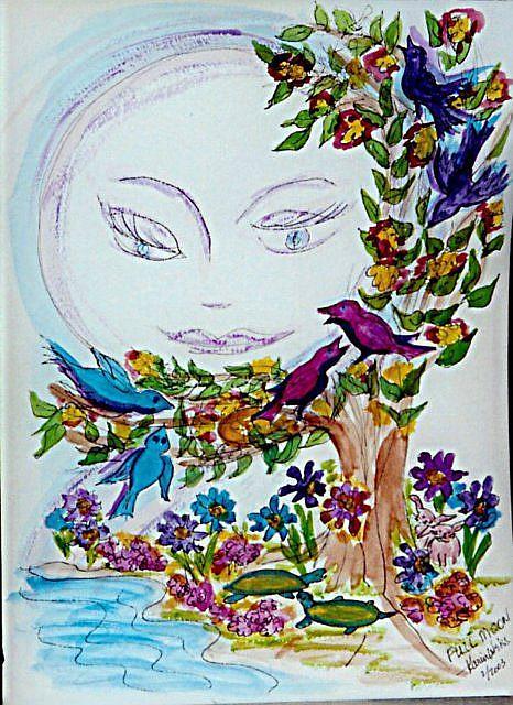 Art: Moon-face 5:  Full Moon by Artist Karin Elizabeth Weiss
