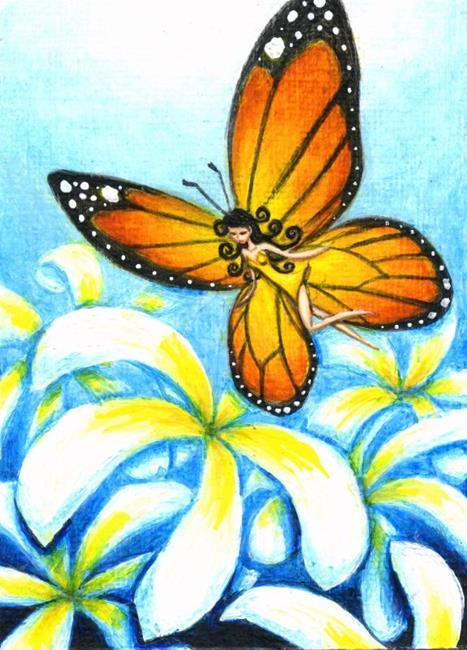 Art: Monarch Fairy and Plumerias by Artist Hiroko Reaney