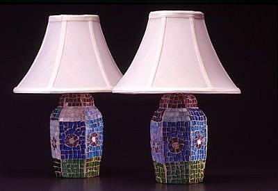 Art: Flower Lamps, pair by Artist Lauren K Blair