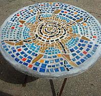 Art: Mosaic Sun Table by Artist Lauren K Blair