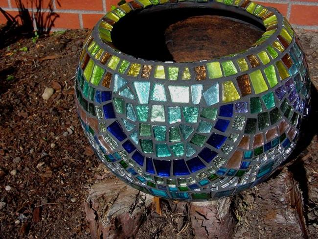 Art: Mosaic Clay Pot by Artist Bonnie G Morrow