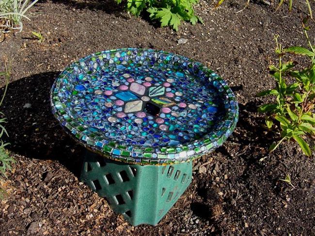 Art: Mosaic Bird Bath by Artist Bonnie G Morrow