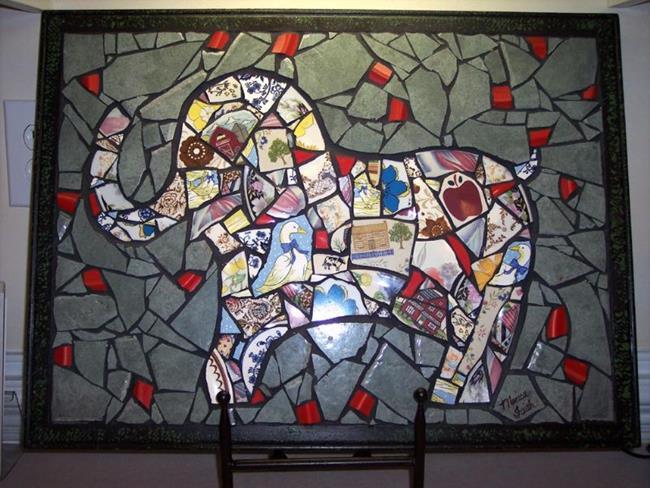Art: Happy Elephant by Artist Monica Faith