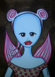 Art: CHOCOLATE CHERRY MOUSE FAIRY-Sold by Artist Sherry Key