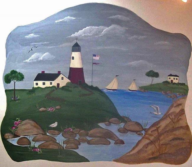 Art: Americana Lighthouse Cove by Artist Karen Lynn Evans