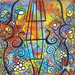 Art: Violin and Flowers by Artist Juli Cady Ryan