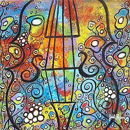 Art: Violin and Flowers by Artist Juli Cady Ryan