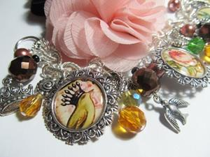 Detail Image for art VINTAGE ANTIQUE EPHEMERA~flowers and birds~ Altered Art Charm Bracelet OOAK
