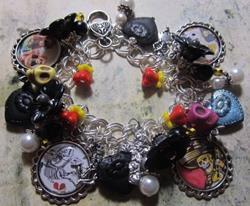 Art: Day of the Dead Altered Art Charm Bracelet ooak by Artist Lisa  Wiktorek