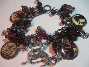 Detail Image for art Dragon Altered Art Charm Bracelet ooak