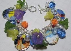 Art: HAWAII Altered Art Charm Bracelet ooak by Artist Lisa  Wiktorek