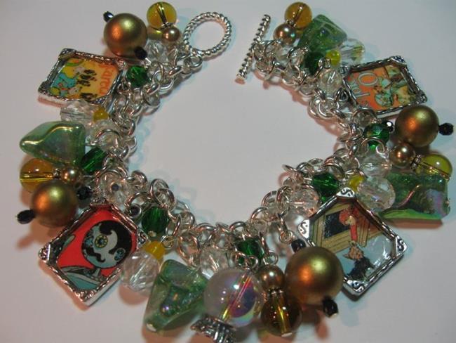 Art: Vintage OZ Altered Art Charm Bracelet by Artist Lisa  Wiktorek