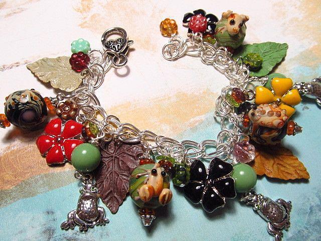Art: Woodland Frogs Altered Art Charm Bracelet by Artist Lisa  Wiktorek