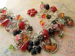 Art: Garden Fairies in red Altered Art Charm Bracelet by Artist Lisa  Wiktorek