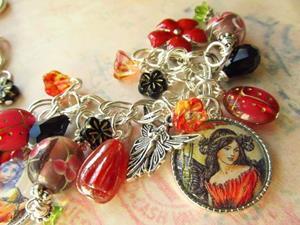 Detail Image for art Woodland  Fairies in Altered Art Charm Bracelet, ooak