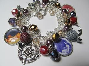 Detail Image for art MOON GODDESS Altered Art Charm Bracelet