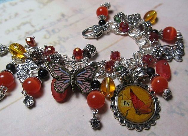 Art: Vintage Ephemera Butterflies Altered Art Charm Bracelet ooak by Artist Lisa  Wiktorek