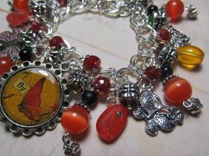 Detail Image for art Vintage Ephemera Butterflies Altered Art Charm Bracelet ooak